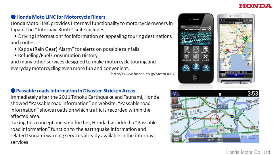 Honda Moto LINC for Motorcycle Riders , Passable roads information in Disaster-Stricken Areas