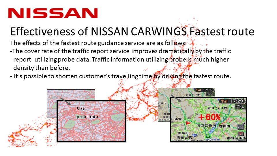 Effectiveness of NISSAN CARWINGS Fastest route